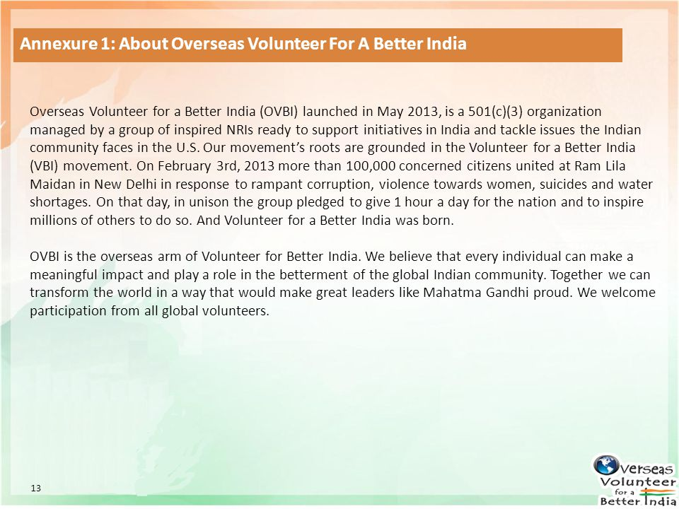 Annexure 1: About Overseas Volunteer For A Better India