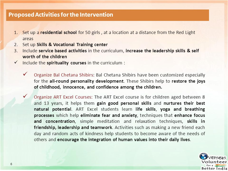 Proposed Activities for the Intervention