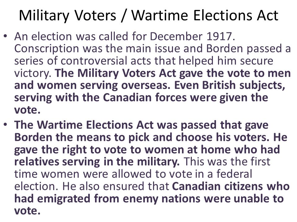 Military Voters / Wartime Elections Act