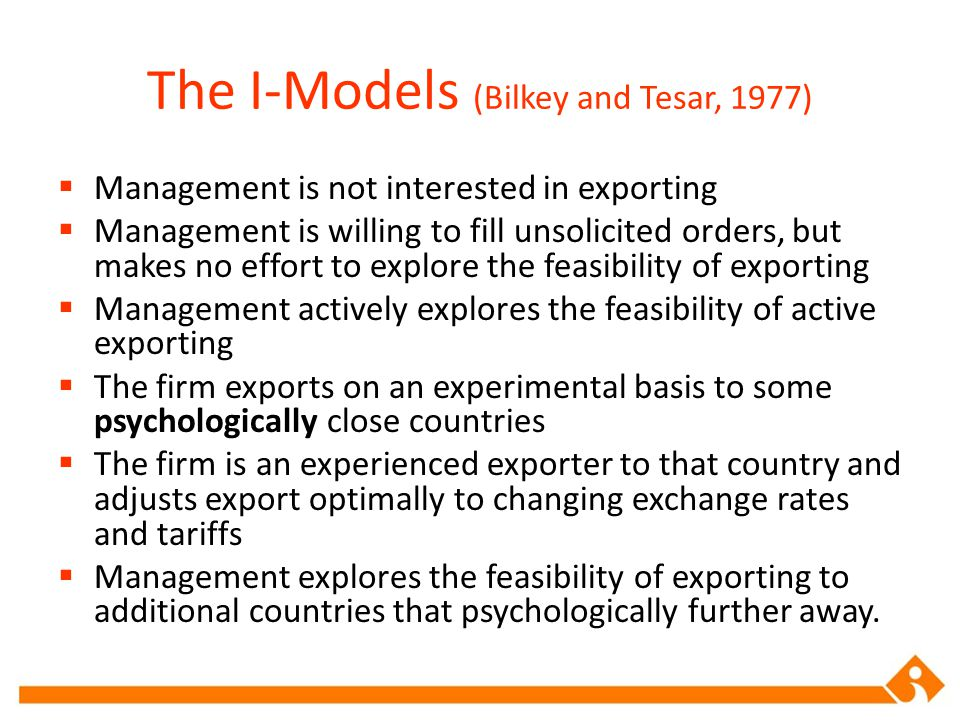The I-Models (Bilkey and Tesar, 1977)