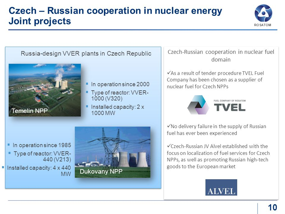 Czech – Russian cooperation in nuclear energy Joint projects