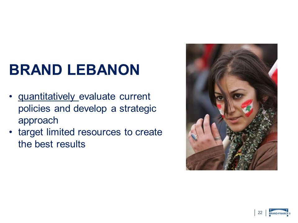 BRAND LEBANON quantitatively evaluate current policies and develop a strategic approach.