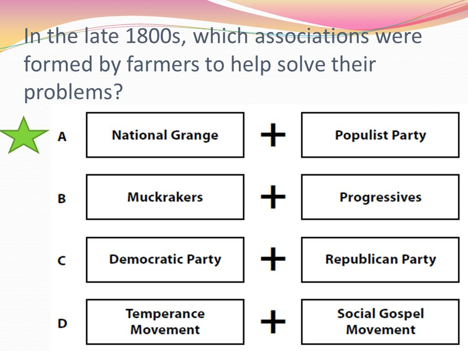 In the late 1800s, which associations were formed by farmers to help solve their problems
