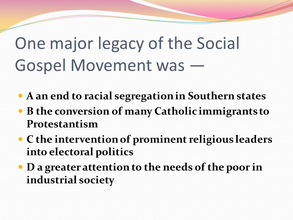 One major legacy of the Social Gospel Movement was —
