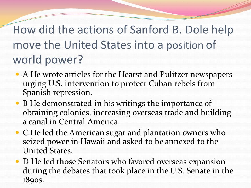 How did the actions of Sanford B