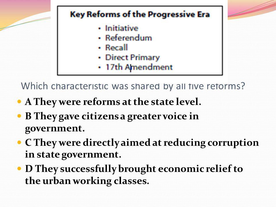 Which characteristic was shared by all five reforms
