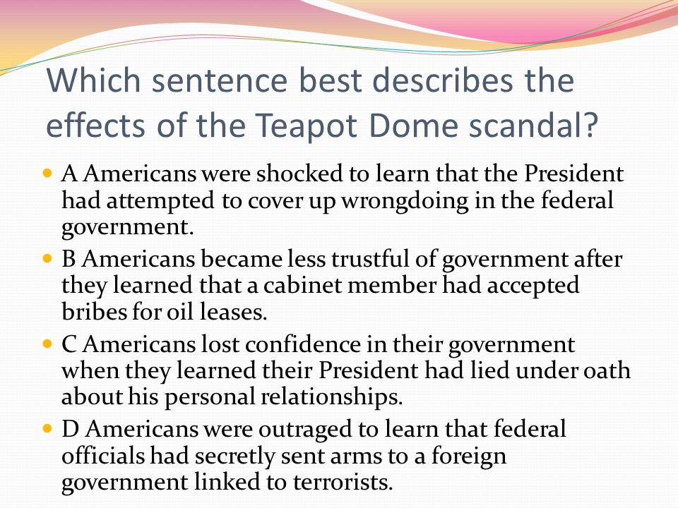 Which sentence best describes the effects of the Teapot Dome scandal