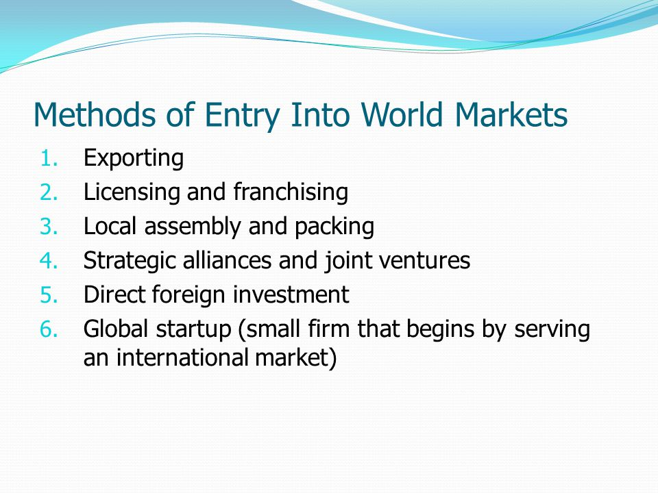 Methods of Entry Into World Markets