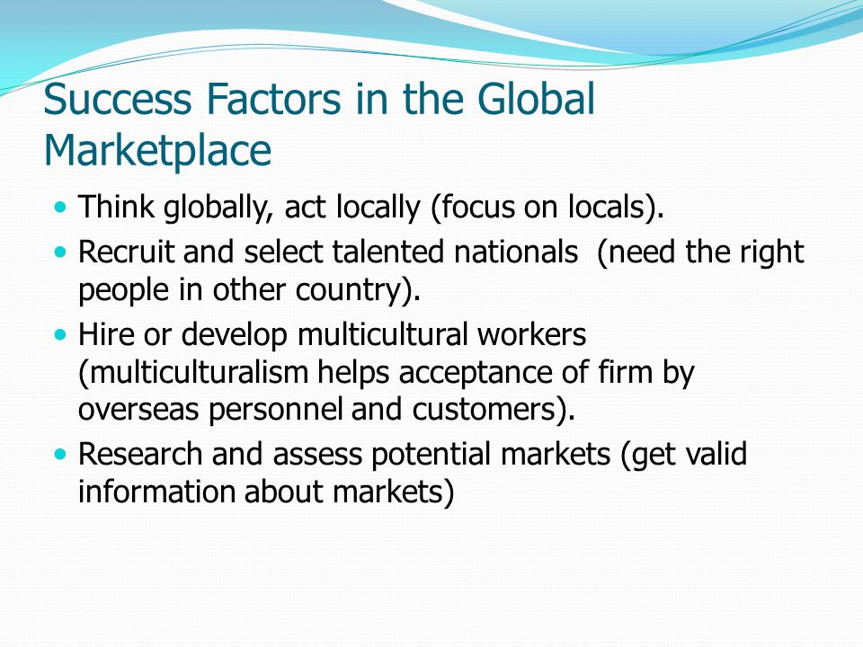 Success Factors in the Global Marketplace