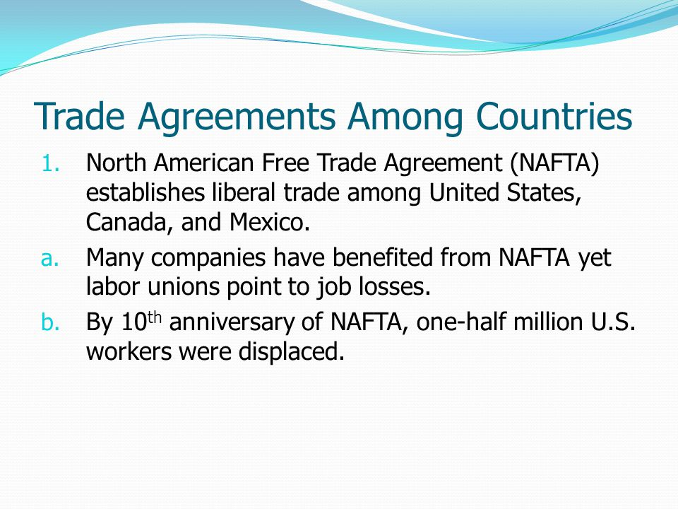 Trade Agreements Among Countries