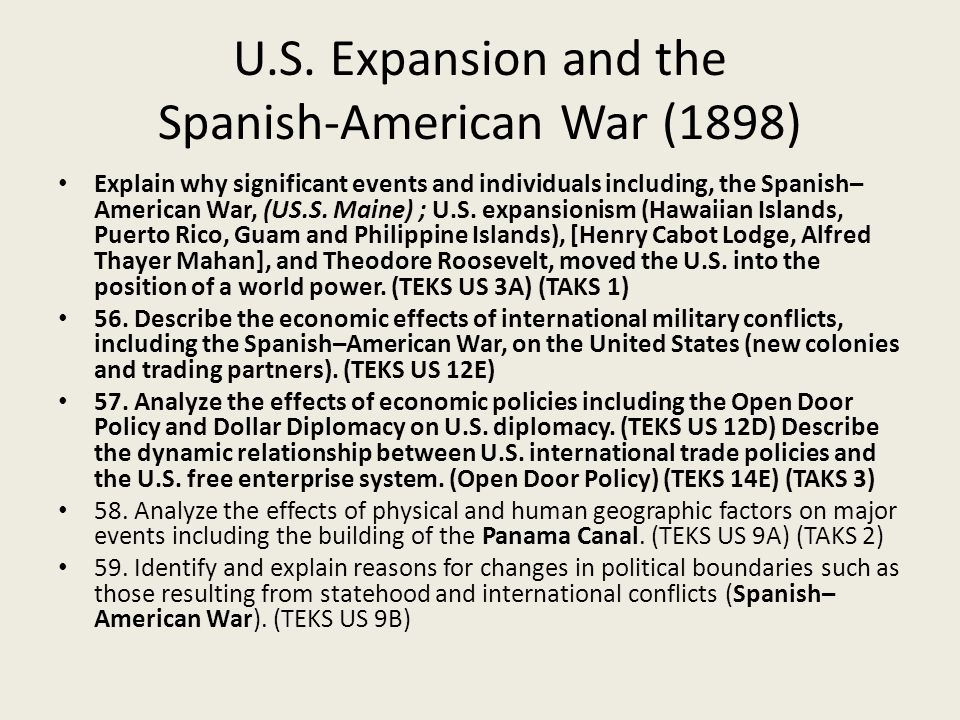 U.S. Expansion and the Spanish-American War (1898)