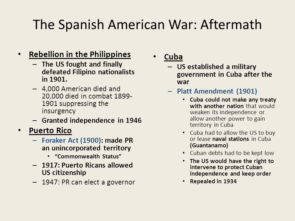 The Spanish American War: Aftermath
