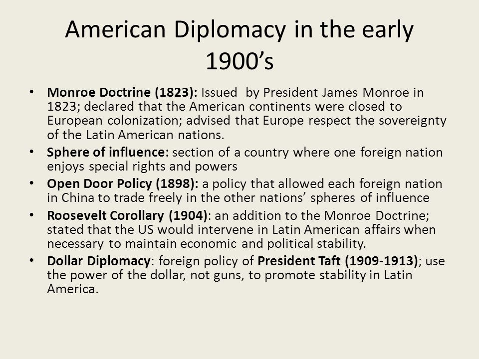 American Diplomacy in the early 1900's