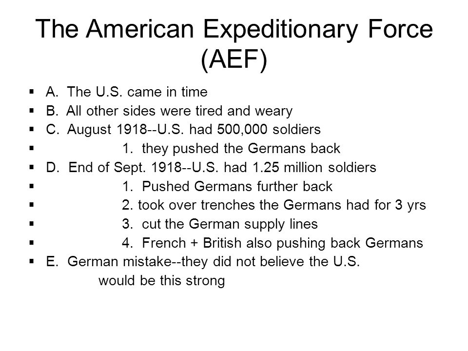 The American Expeditionary Force (AEF)