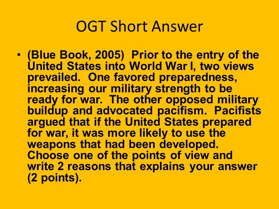 OGT Short Answer
