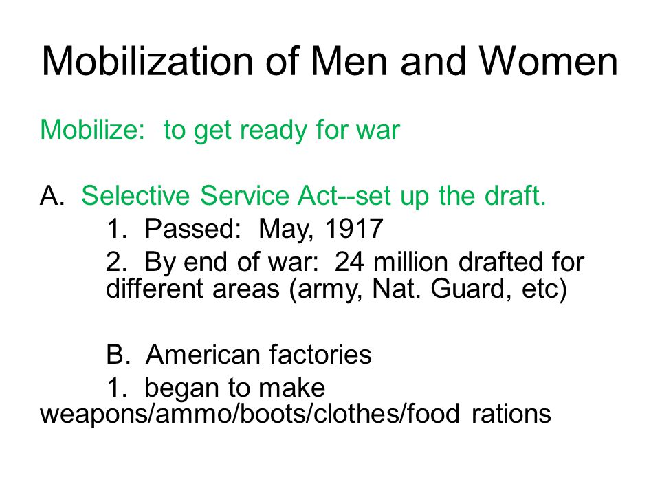 Mobilization of Men and Women