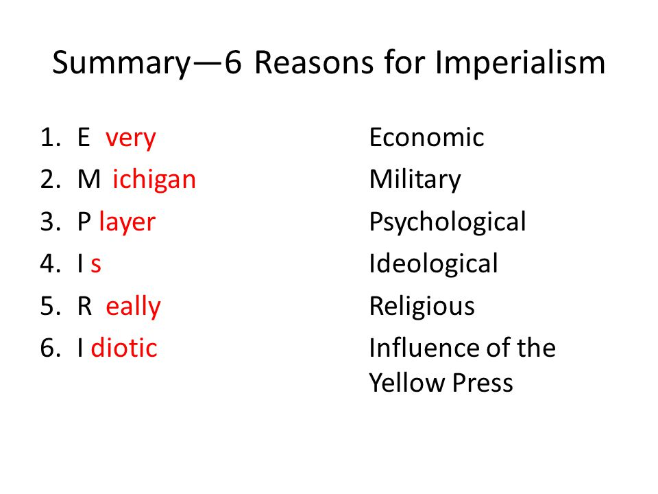 Summary—6 Reasons for Imperialism