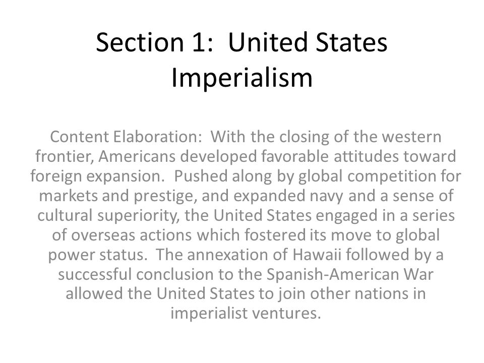 Section 1: United States Imperialism