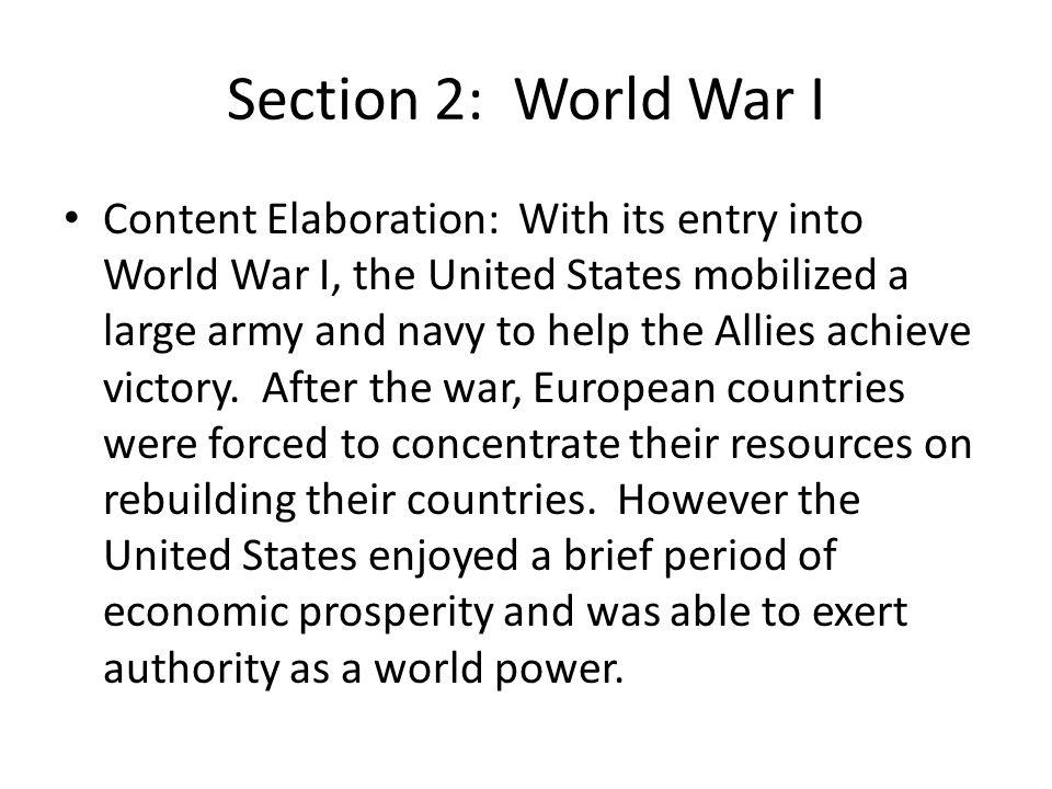 Section 2: World War I