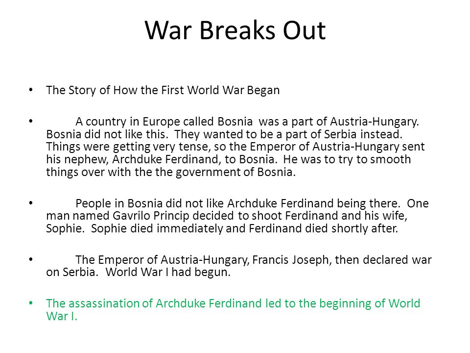 War Breaks Out The Story of How the First World War Began