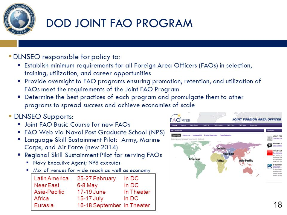 DOD JOINT FAO PROGRAM DLNSEO responsible for policy to:
