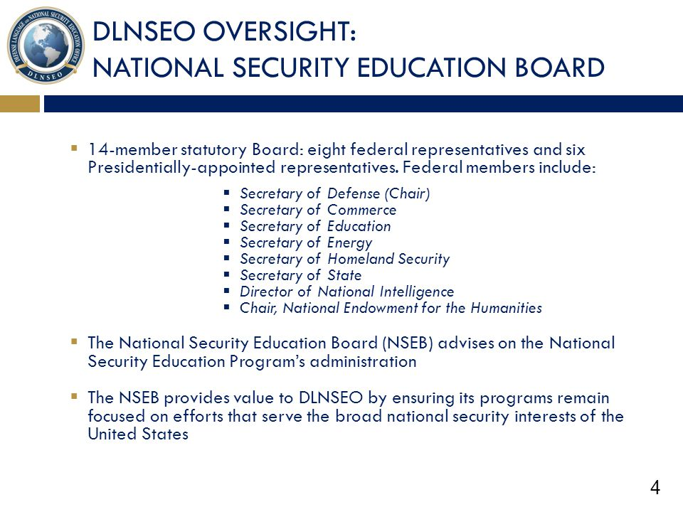 DLNSEO OVERSIGHT: NATIONAL SECURITY EDUCATION BOARD
