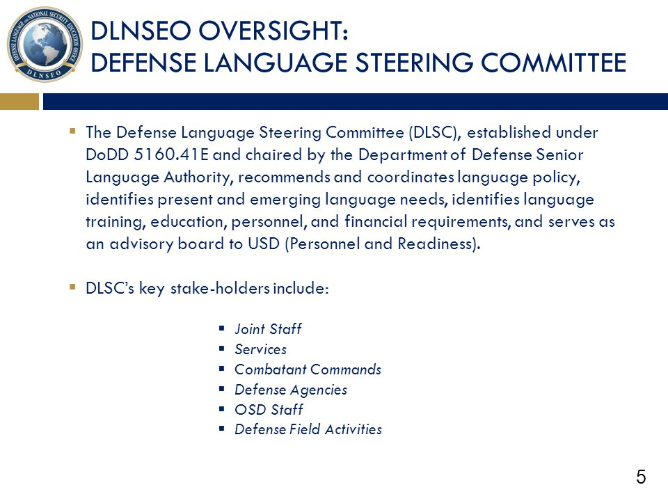 DLNSEO OVERSIGHT: DEFENSE LANGUAGE STEERING COMMITTEE