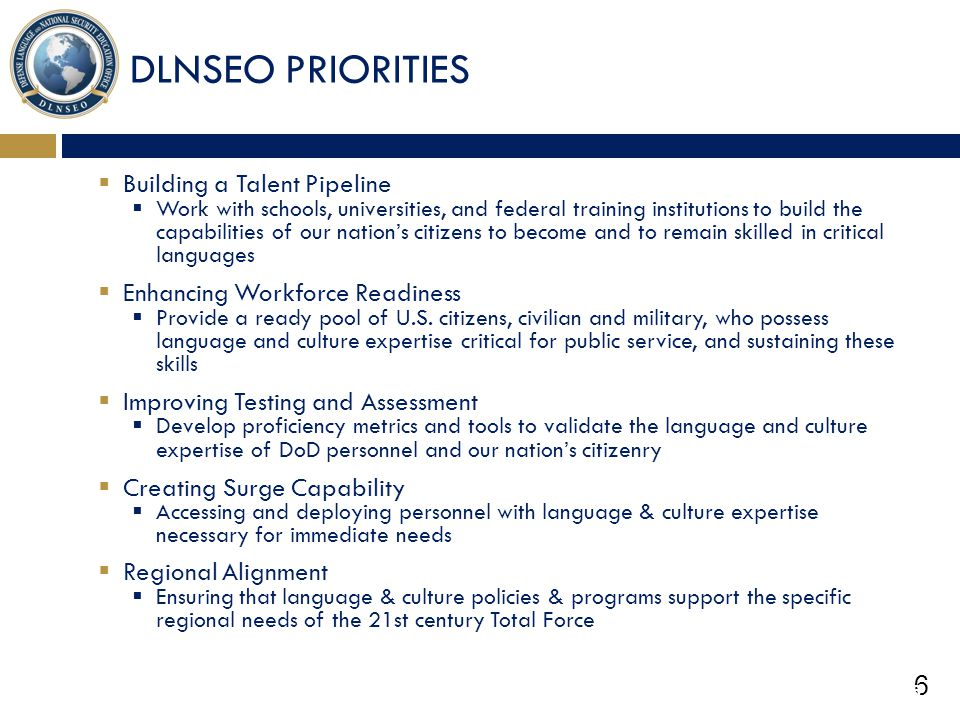DLNSEO PRIORITIES Building a Talent Pipeline
