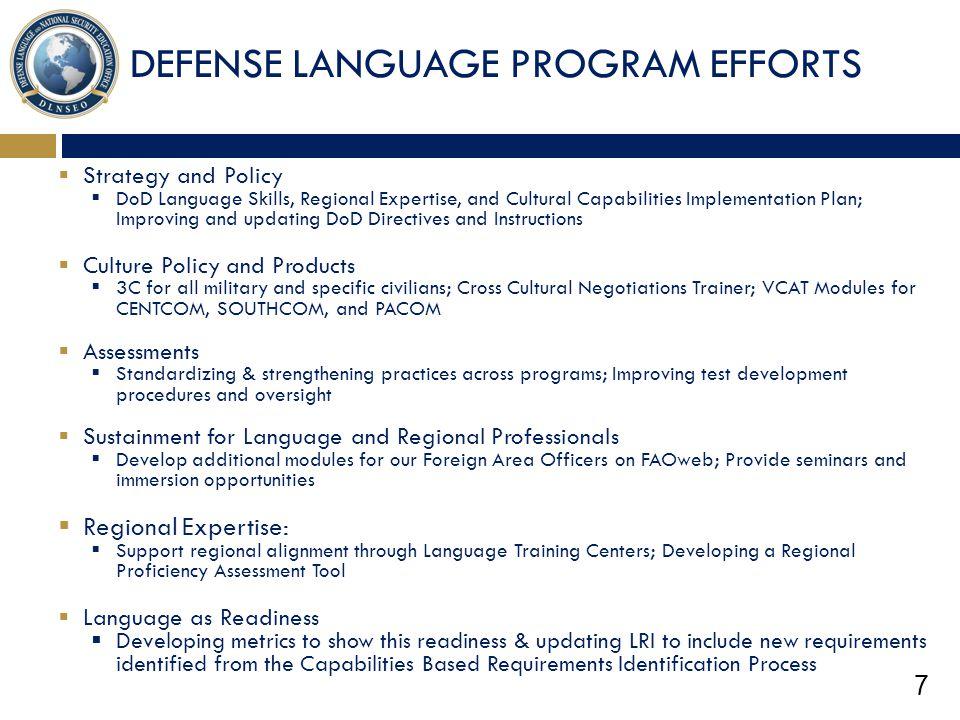 DEFENSE LANGUAGE PROGRAM EFFORTS