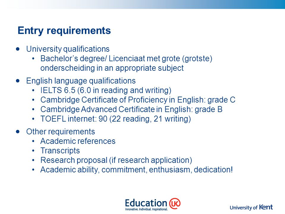 Entry requirements University qualifications