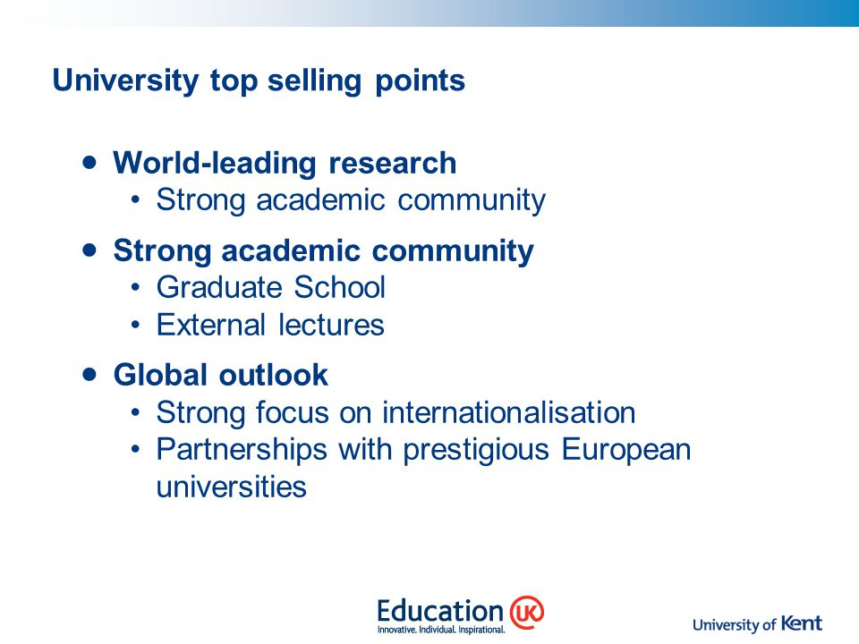 University top selling points