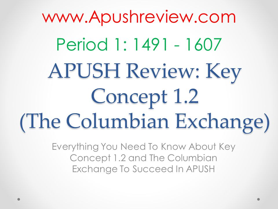 APUSH Review: Key Concept 1.2 (The Columbian Exchange)