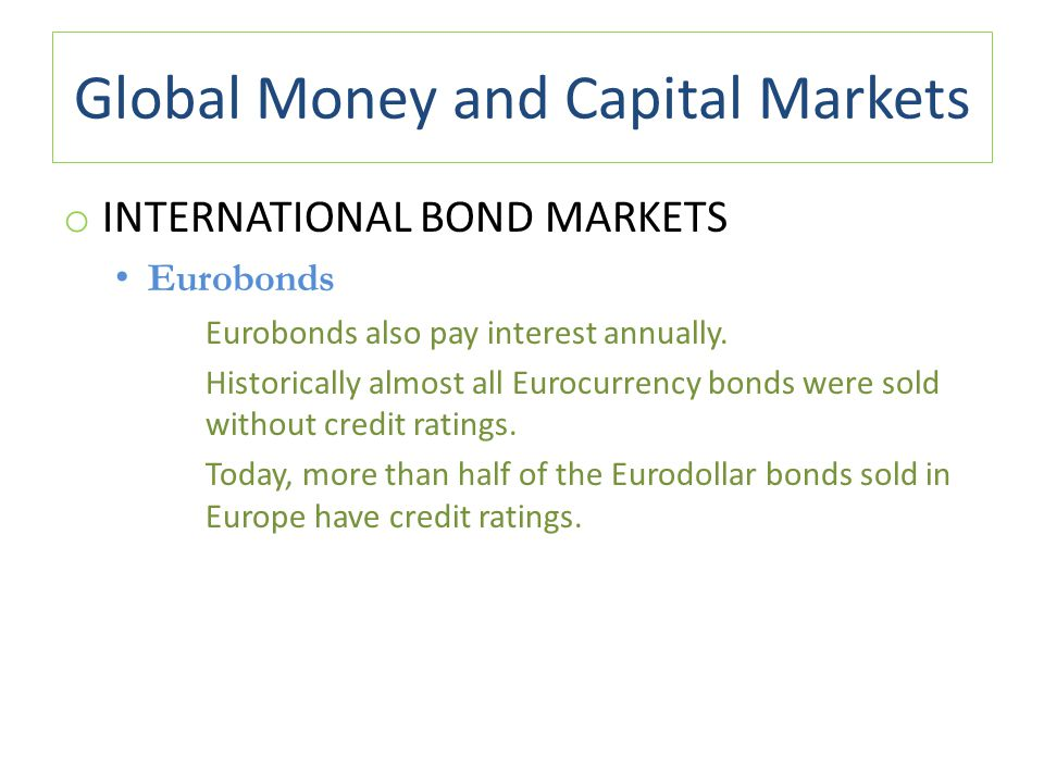 Global Money and Capital Markets