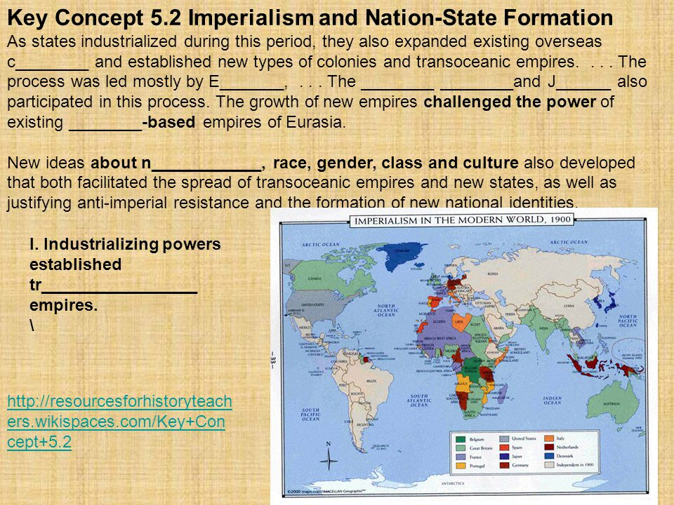 Key Concept 5.2 Imperialism and Nation-State Formation