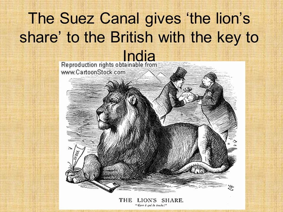 The Suez Canal gives 'the lion's share' to the British with the key to India