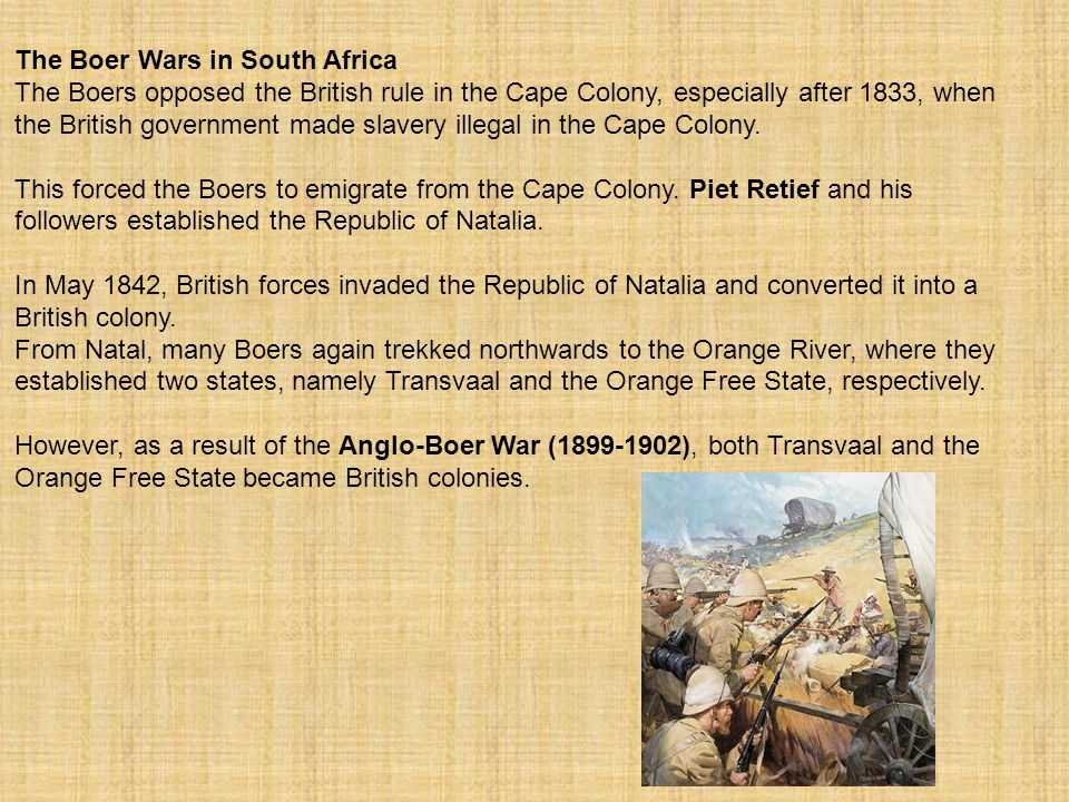 The Boer Wars in South Africa