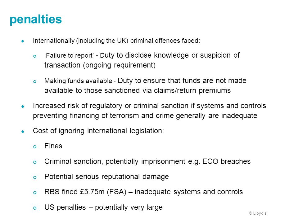 penalties Internationally (including the UK) criminal offences faced: