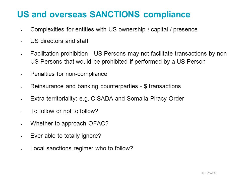 US and overseas SANCTIONS compliance