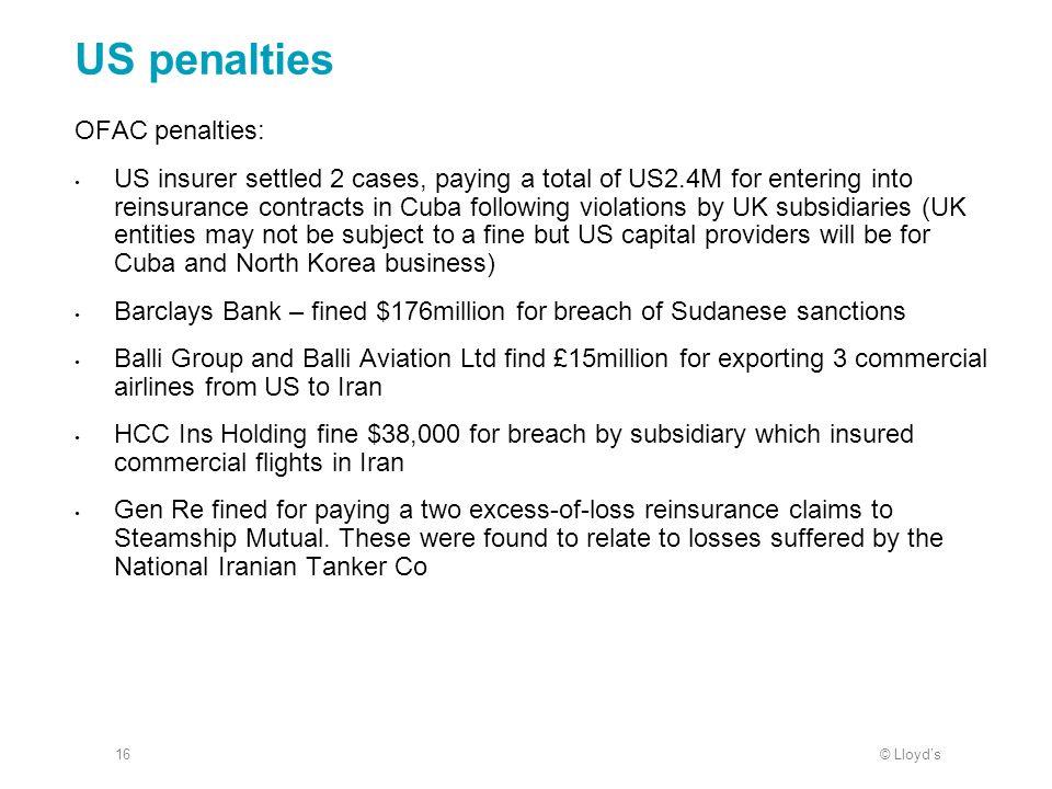 US penalties OFAC penalties: