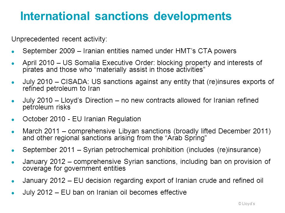 International sanctions developments
