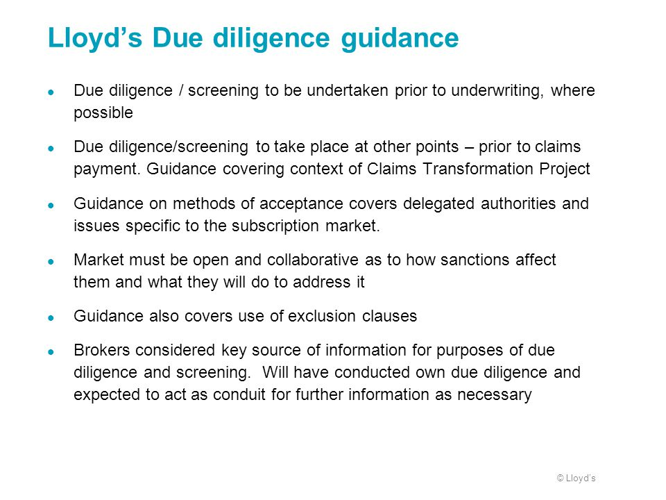 Lloyd's Due diligence guidance
