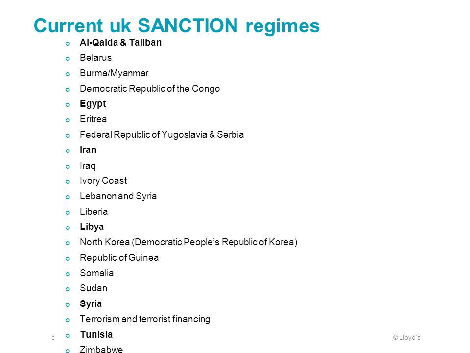 Current uk SANCTION regimes