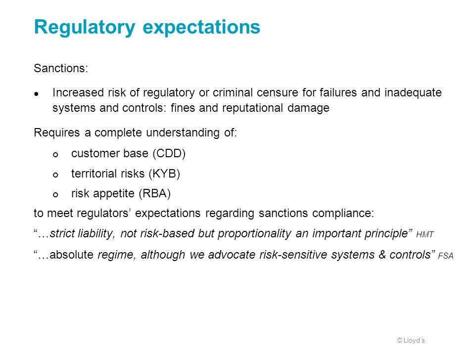Regulatory expectations