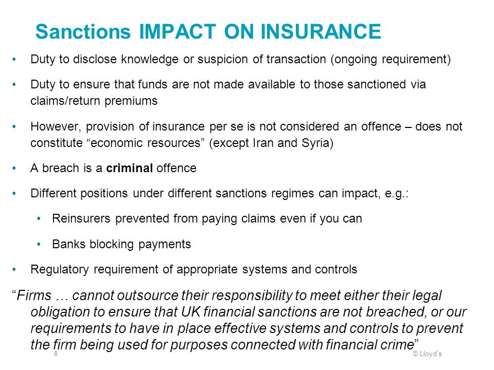 Sanctions IMPACT ON INSURANCE
