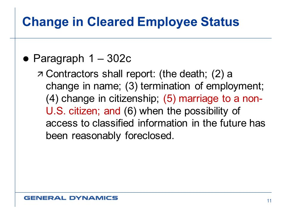 Change in Cleared Employee Status