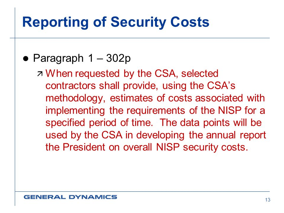 Reporting of Security Costs