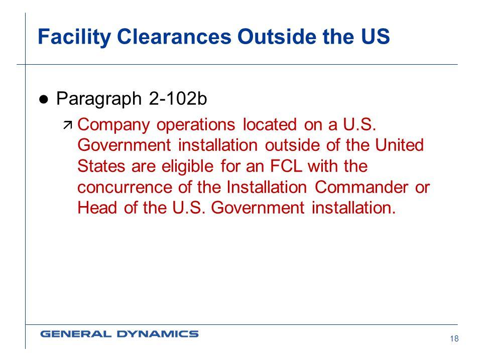 Facility Clearances Outside the US