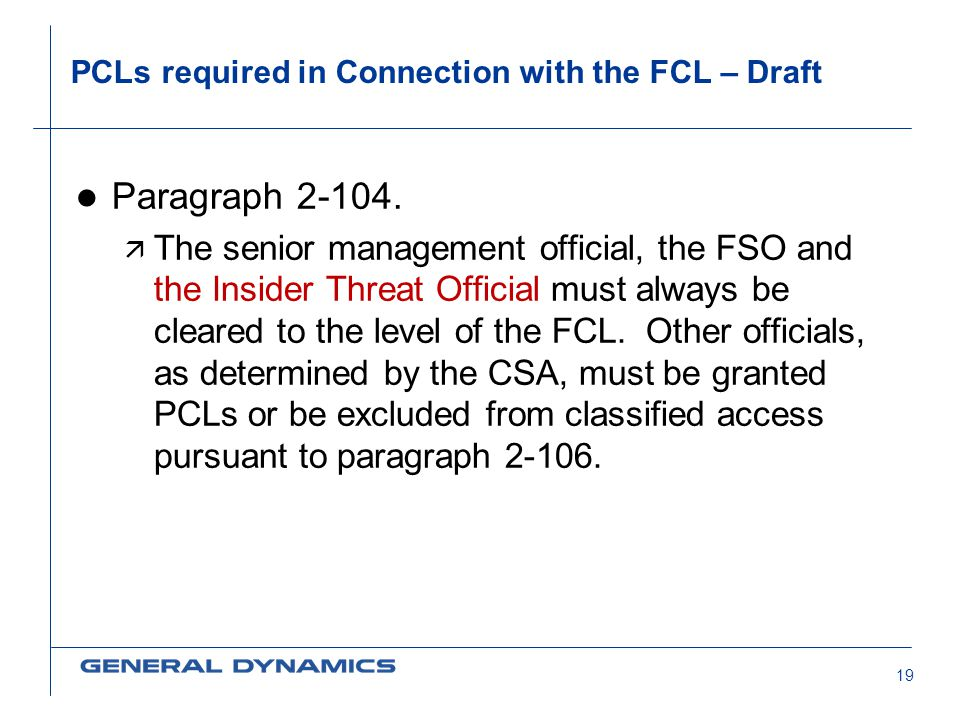 PCLs required in Connection with the FCL – Draft