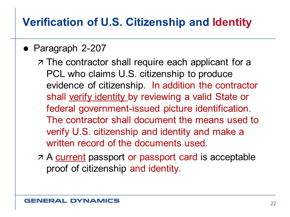 Verification of U.S. Citizenship and Identity