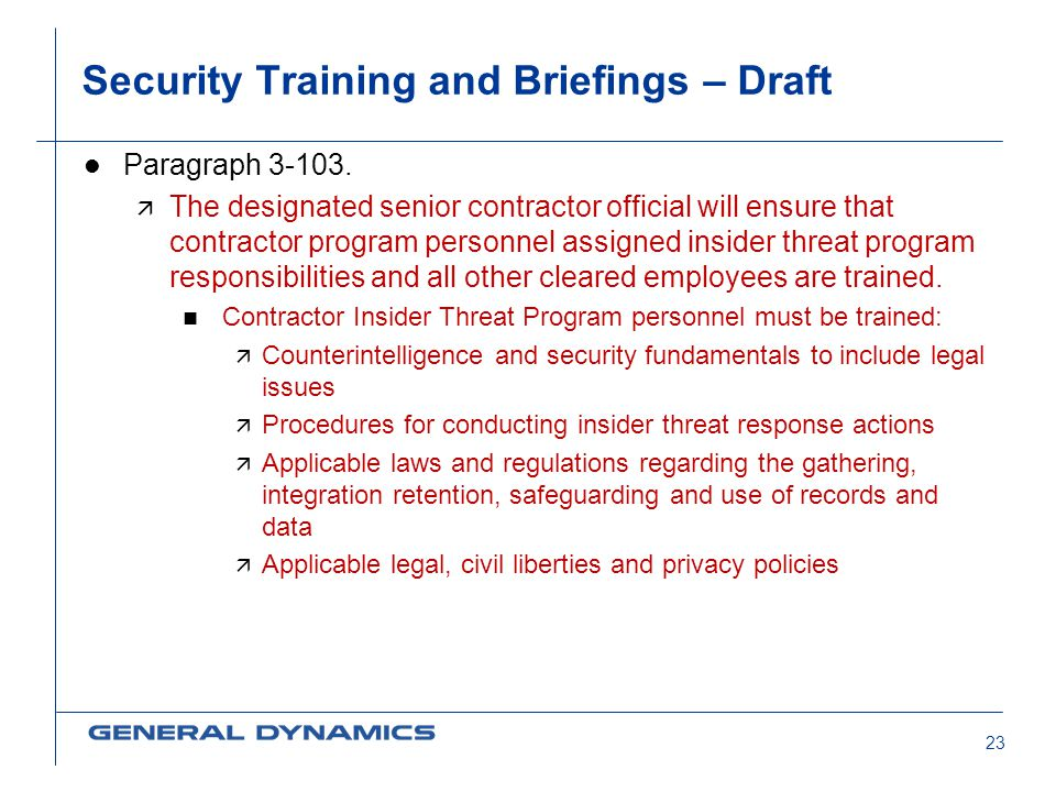 Security Training and Briefings – Draft